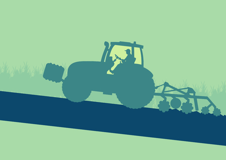 plowed: Tractor plowing and cultivating soil field vector background Illustration