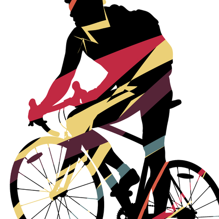 Graphic concept of a riders bicycle silhouette in abstract mosaic background illustration vector Illustration