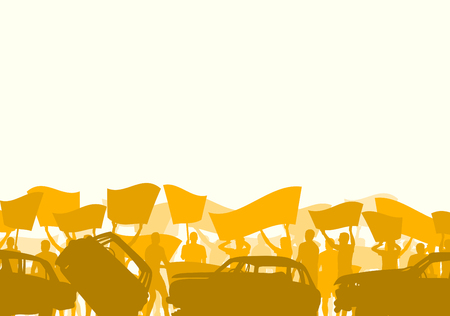 manifest: Graphic concept of a people crowd and broken car silhouette vector background landscape demonstrate concept Illustration