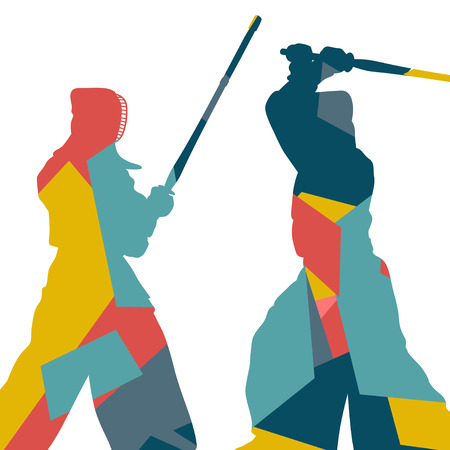 graphic arts: Graphic concept of a kendo sword martial arts fighters sport silhouettes abstract mosaic illustration background vector Illustration