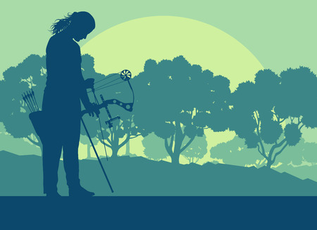 Graphic concept of a bow outdoor training in front of forest trees vector background sunset. Illustration