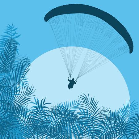 Graphic concept of a cool blue Paragliding jump landscape vector background Illustration
