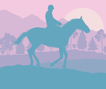 Graphic concept of a rider and forest trees landscape with sunset vector background Illustration
