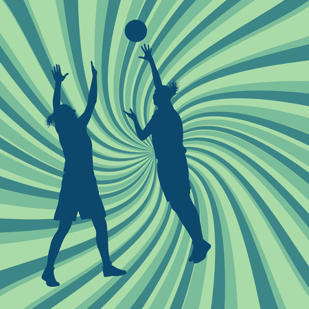 baloncesto chica: Graphic concept of a woman game in action with basketball hoop vector background