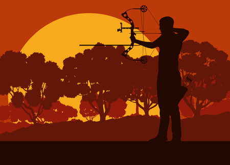 Motion concept of a man with bow outdoor training in front of forest trees vector background sunset Illustration