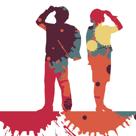 Motion concept of a Engineer detailed construction site worker silhouettes illustration mosaic color paint splashes background vector