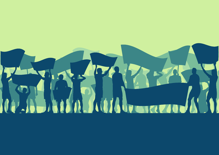social gathering: Motion concept of a Protest people crowd and broken car silhouette vector background landscape demonstrate concept