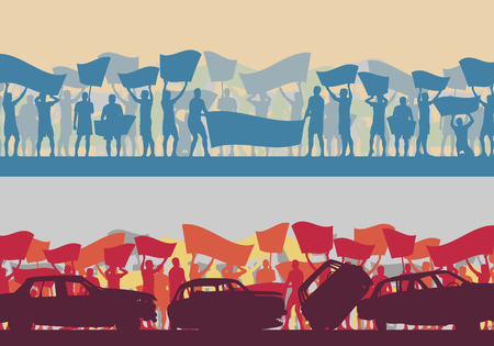 Motion concept of a set of Protest people crowd and broken car silhouette vector background landscape demonstrate concept Illustration
