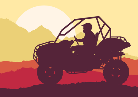 all seasons: Motion concept of an All terrain vehicle driver landscape with trees outdoor activity vector background