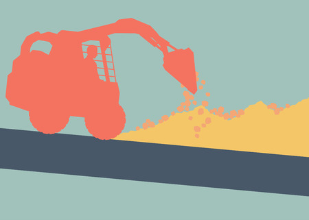 Motion concept of a Mini excavator with worker inside cabin working in construction site vector background