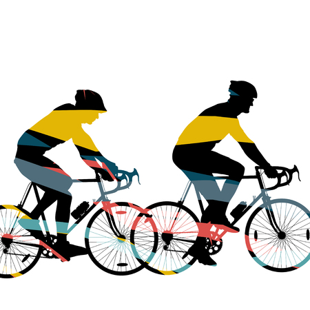 Motion concept of a road bike riders bicycle silhouette in abstract mosaic background illustration vector Illustration