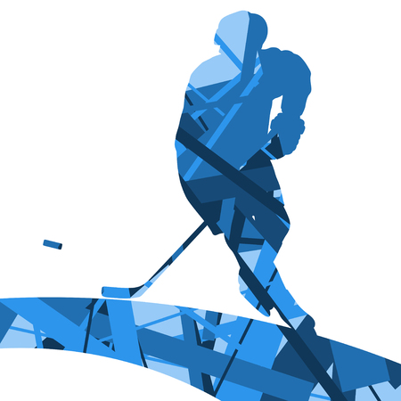 Hockey player sport silhouettes mosaic abstract background illustration vector