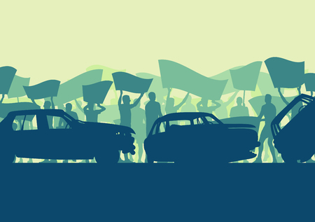 Cute concept of a people crowd and broken car silhouette vector background landscape demonstrate concept