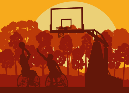 Wheelchair basketball man playing game landscape with trees vector background