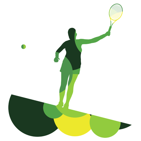 smashing: Girl tennis player active sport silhouette abstract mosaic background illustration vector