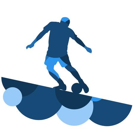Silhouette di uomini del calcio giocatore con palla in attivo e sana sport all'aperto stagionale astratto mosaico sfondo illustrazione vettoriale Archivio Fotografico - 77715168