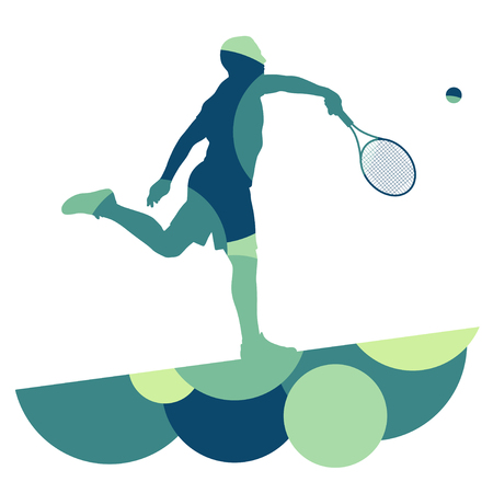 smash: Man tennis player sport silhouette round abstract mosaic vector background illustration Illustration