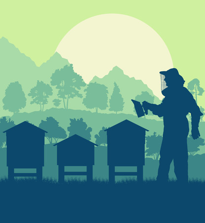 Beekeepers working with bees and hives vector background landscape with trees