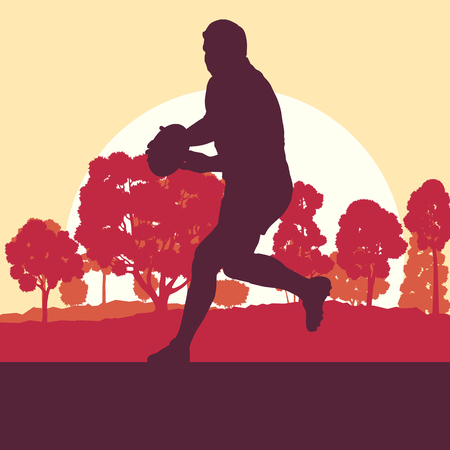 fast pitch: Rugby player man landscape vector background with forest trees