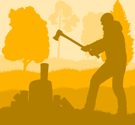 Logger with axe cut firewood vector background landscape with trees Illustration
