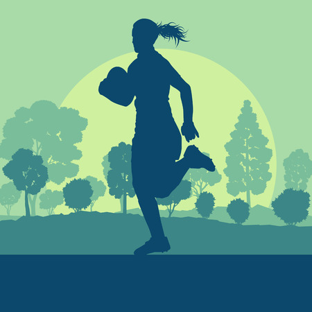 tough woman: Rugby woman player vector background landscape with forest trees and field
