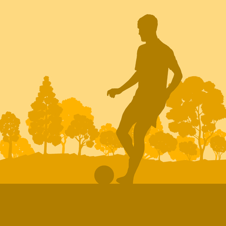 Soccer player man in field vector background landscape with trees