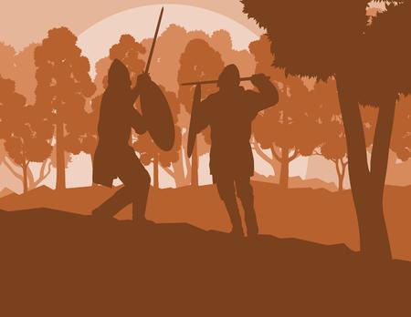swordsman: Warrior medieval fighter duel forest trees landscape vector background