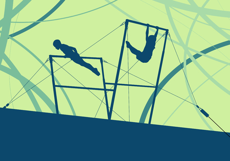 Athlete gymnast exercises on professional gymnastic uneven bars in sport palace abstract vector background