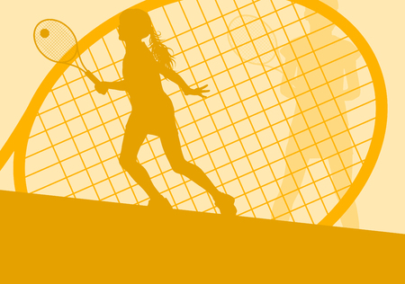 smashing: Tennis player female vector abstract background