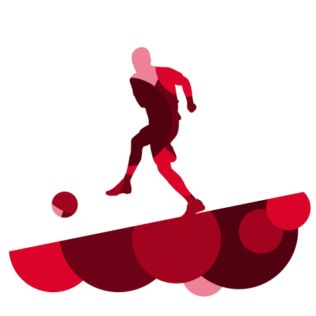 Silhouette di uomini del calcio giocatore con palla in attivo e sana sport all'aperto stagionale astratto mosaico sfondo illustrazione vettoriale Archivio Fotografico - 77715442