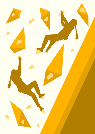 Girl rock climbing vector background abstract poster Illustration