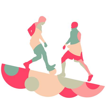 Silhouette di uomini del calcio giocatore con palla in attivo e sana sport all'aperto stagionale astratto mosaico sfondo illustrazione vettoriale Archivio Fotografico - 77715463