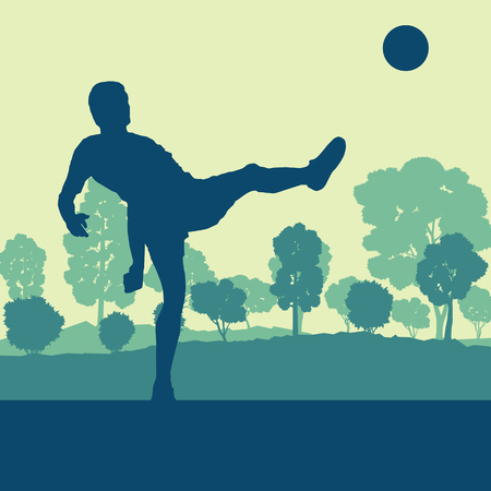 soccer field: Soccer player man in field vector background landscape with trees