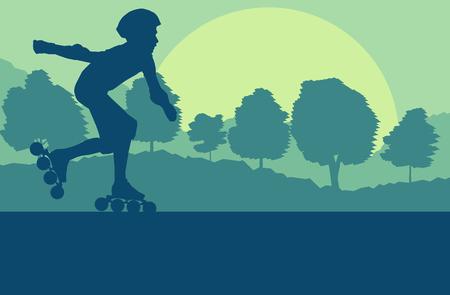 Niño patín en línea en el paisaje del parque con el fondo de vector de árboles forestales