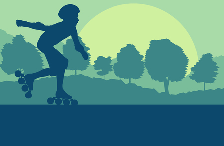 Inline skate kid in park landscape with forest trees vector background
