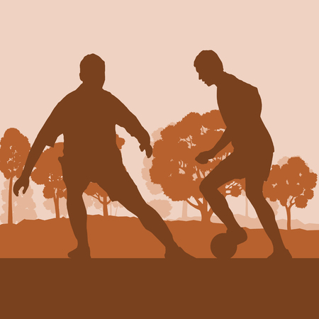 sport fan: Soccer player man in field vector background landscape with trees