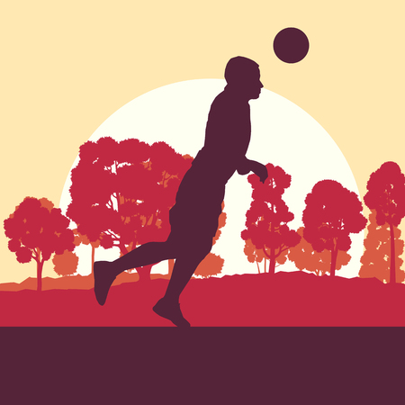 jersey: Soccer player man in field vector background landscape with trees