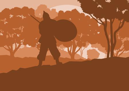 Warrior medieval fighter duel forest trees landscape vector background