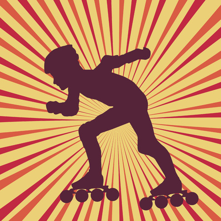 Inline skater vector abstract vector burst background