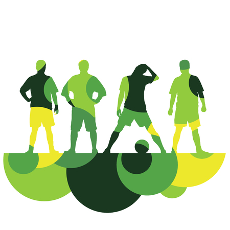 Soccer player men silhouette with ball in active and healthy seasonal outdoor sport abstract mosaic background illustration vector