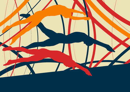 Swimming man jump abstract landscape vector background with lines Ilustração