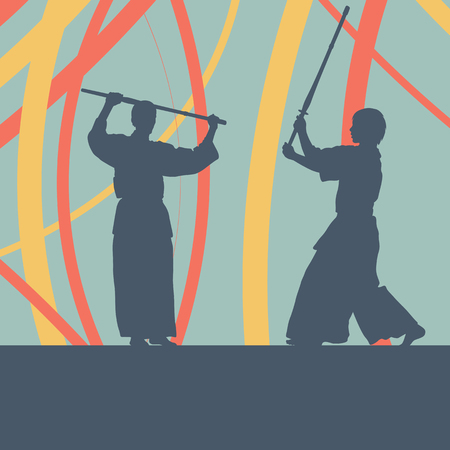 Kendo fighter in uniform vector background Illustration