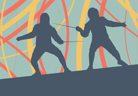 rapier: Fencing player fight abstract vector background