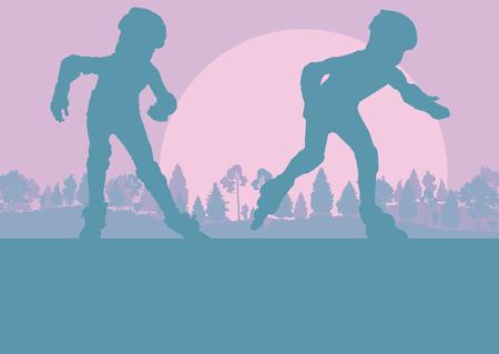 Inline skate kid in park landschap met bos bomen vector achtergrond