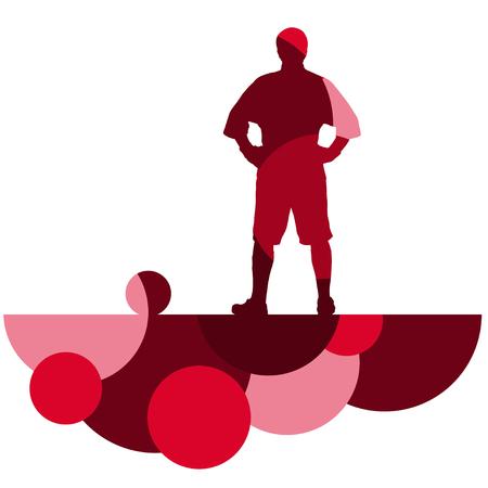 Silhouette di uomini del calcio giocatore con palla in attivo e sana sport all'aperto stagionale astratto mosaico sfondo illustrazione vettoriale Archivio Fotografico - 77715683