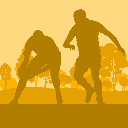Rugby player man landscape vector background with forest trees