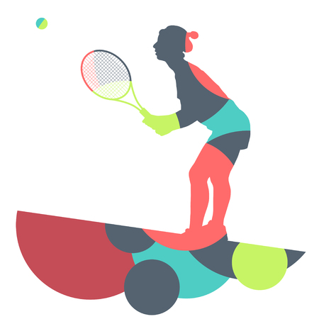 smash: Girl tennis player active sport silhouette abstract mosaic background illustration vector