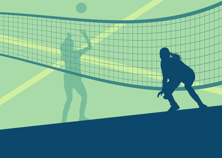 Volleyball woman player abstract vector background with net Ilustração