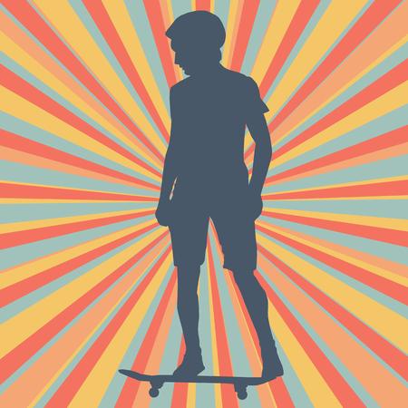 Jongen die vectorachtergrond voor affiche met een skateboard rijden Stock Illustratie