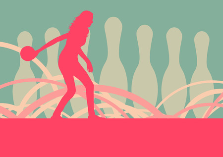 女性プレーヤーのベクトルの抽象的な背景をボウリング